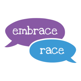 Embrace Race Logo with talk bubbles in purple and blue. Anti-racism and racial justice resources for parents